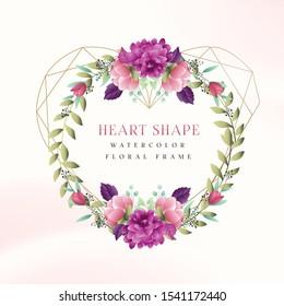 Heart Shape Watercolor Floral Frame
