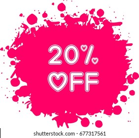 Heart shaped 20% off label vector on pink color splashed background. Decorative 20% off banner, label, tag. modern Price tag concept. modern Price label design. Valentine's day sale concept decoration