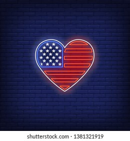 Heart shaped American flag neon sign. Stars and strips, USA, national patriotic symbols. Vector illustration in neon style for festive independence day banners, light billboards, 4th of July posters