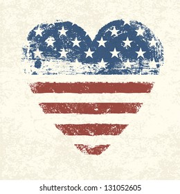 Heart shaped american flag. Vector, EPS10
