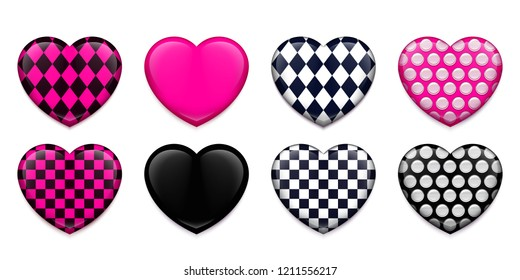 Heart shaped badges for youth subculture Emo. Vector illustration