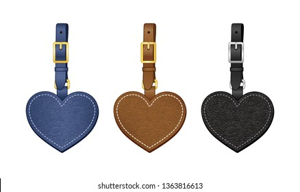 heart shaped bag charms set, leather heart shaped tags with detachable strap, vector illustration sketch template