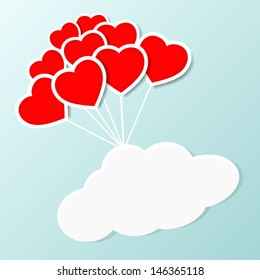 heart shaped balloon with cloud and sky, you can text in the cloud.
