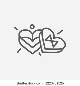 Heart shaped box icon line symbol. Isolated vector illustration of  icon sign concept for your web site mobile app logo UI design.