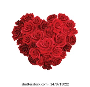 Heart shaped bunch of red roses realistic composition on white background vector illustration