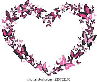 Heart shaped butterfly flight, pink and black butterflies vector heart shaped illustration. Romantic, classy.