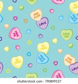 Heart shaped candies with sayings