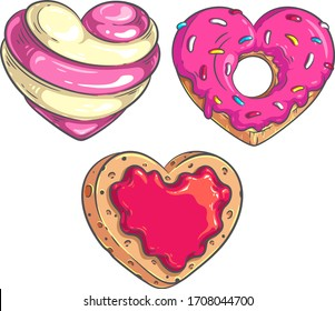 Heart Shaped Candy, Donut and Cookie vector colorful illustration set. Coloring book page design. Valentine's Day design set. Vintage style menu decoration. Wedding designs decoration set