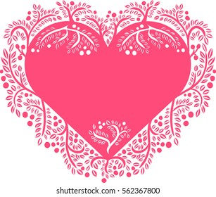Heart shaped card template with vignettes and ornament