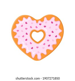 Heart shaped donut decorated with pink glaze and little heart shaped sprinkles. Doughnut for Valentines day isolated on white background. Vector cartoon illustration.