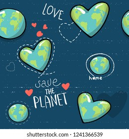 heart shaped earth. Cartoon globe. web icons green happy nature character. love ecology earth planet world map seamless pattern vector illustration. save the planet. motivational inscription