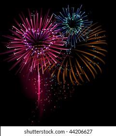 heart shaped fireworks ( vector illustration)