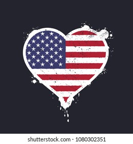 b2b07164f Heart shaped flag of th United States of america graffiti vector  illustration
