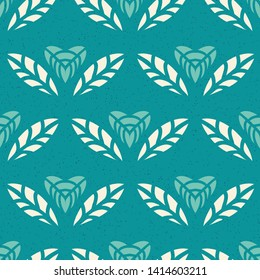 Heart shaped flowers seamless pattern with stylized look and textured background.Floral motifs repeat in a brick pattern and are great for textiles, walpaper, gift wrapping paper and home decor items.