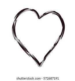Heart shaped frame with grunge effect. Vector illustration in black color.