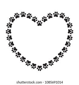 Herzgeformter Rahmen aus Pfosten von Tieren (Hunden). Rahmen für das Porträt Ihres Haustieres. Symbol.  Vektorgrafik.