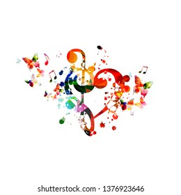 Heart shaped G-clef isolated vector illustration design. Colorful music background with butterflies. Artistic music festival poster, live concert events, party flyer, music notes signs and symbols