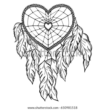 Heart Shaped Hand Drawn Dream Catcher StockVektorgrafik Lizenzfrei Impressive Drawn Dream Catchers