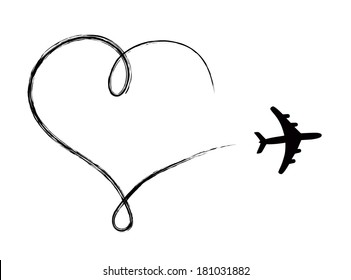 Heart shaped icon in air, made by plane