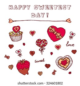 Heart shaped icons for Happy Sweetest Day. Chocolate box, Cupcake with cookies, chocolate covered strawberry, candies