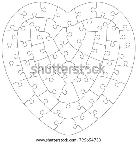 Heart Shaped Jigsaw Puzzle Blank Template Stock Vector Royalty Free