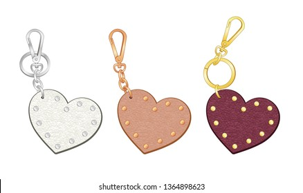 heart shaped key chains set, leather bag charms, leather heart shaped tags with metal studs/ rivets, vector illustration sketch template