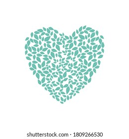Heart shaped leaves. Heart made from leaves. Design for postcards.