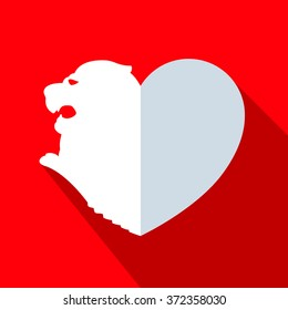 Heart shaped lion icon is red colors vector illustration.