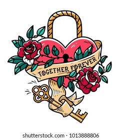 Heart shaped lock. Tattoo heart under lock and key. Red heart entwined in climbing rose tattoo. Golden key from heart. Old school styled. Ribbon with lettering Together Forever. Forever love