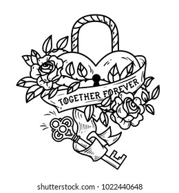 Heart shaped lock. Tattoo heart under lock and key. Red heart entwined in climbing rose tattoo. Old school styled. Ribbon with lettering Together Forever. Black and white illustration