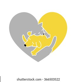 heart shaped logo,cat and dog sleeping together