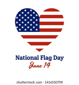 Heart shaped national flag of The United States of America with inscription: National Flag Day, June 14 in modern style with patriotic colors. Vector EPS10 illustration.