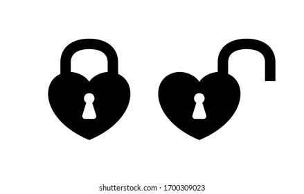heart shaped padlock in locked and unlocked isolated on white, black padlock heart for love romantic feeling, heart shape padlock for icon cute, valentine's day icon with lock and unlock key heart