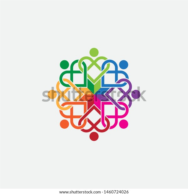 Heart Shaped People Lovely Group Friends Stock Vector