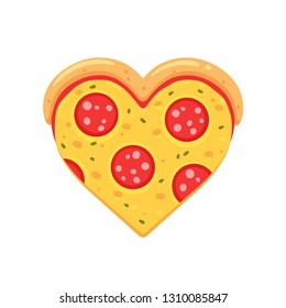 Heart shaped pepperoni pizza slice, cute cartoon drawing. Funny pizza lovers vector illustration.