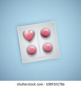 Heart shaped pills, heart care, medical supplies, realistic vector illustration