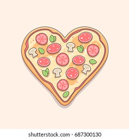 Heart shaped pizza vector illustration