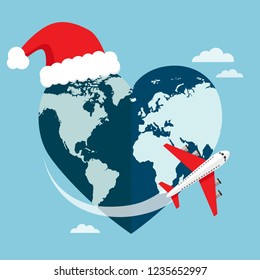 Heart shaped planet Earth with a airplane and Santa's hat. Vector illustration