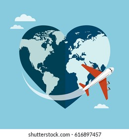 Heart shaped planet Earth with a airplane on blue background. Love travel concept. Vector illustration