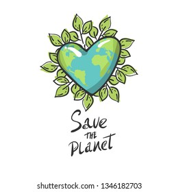 heart shaped planet earth with leaves, Cartoon globe. green circle isolated. Saving planet concept emblem. love ecology earth planet world map. Icon Vector hand sketched logotype, leaf label template