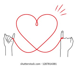 Heart shaped red thread