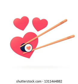 Heart shaped roll. Isolated cute roll. Sushi on a white background.