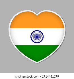 Heart shaped sign with Indian flag, vector illustration. India patriotic badge or sticker.