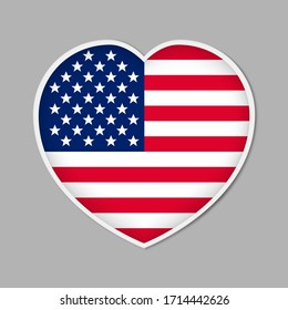 Heart shaped sign with US flag, vector illustration. USA patriotic badge or sticker.