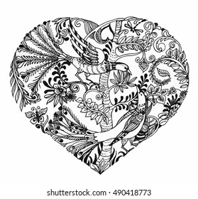 Heart shaped sketch illustration of birds on twig vector