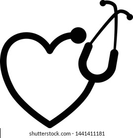 Heart shaped stethoscope vector graphic