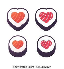 Heart shaped sushi roll design for logo or icon. Cartoon gradient style and flat two color print. Isolated sushi symbol, vector illustration.