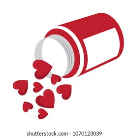 heart shaped tablets pouring out of the overturned bottle. love pills concept  vector illustration.