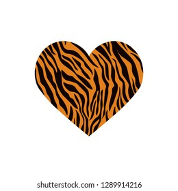 Heart shaped tiger print. Vector illustration. Valentines day. Greeting card