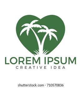 Heart shaped tropical beach and palm tree logo design.